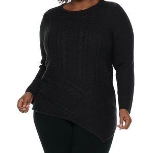 Plus Dana Buchman Lurex Asymmetrical Hem Sweater